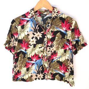 NWT TopShop Crop Blouse Floral Hawaiian Women's 2